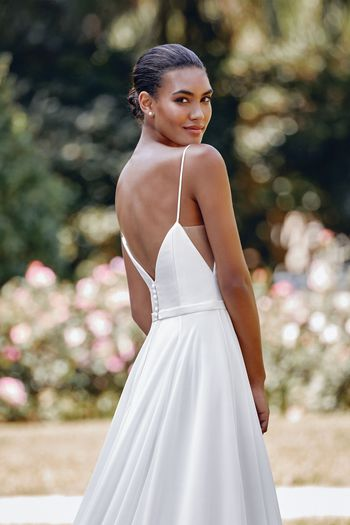 Sincerity style 44118 Mikado and Chiffon A-Line Gown