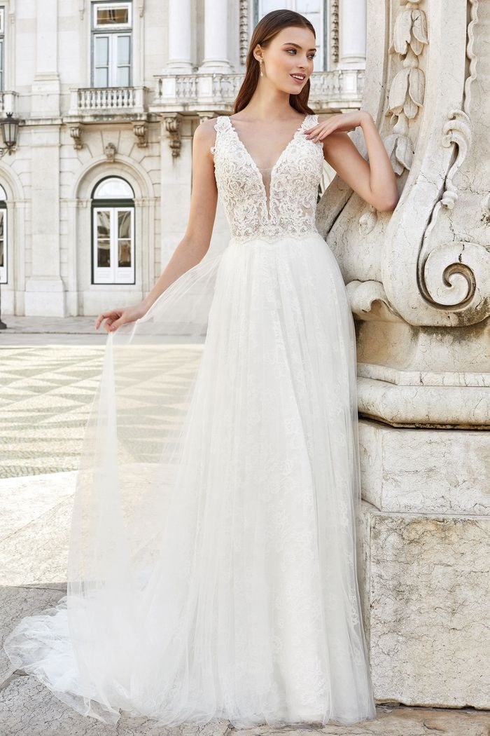 Adore by Justin Alexander Style 11146 Tulle A-Line Dress with V-Back