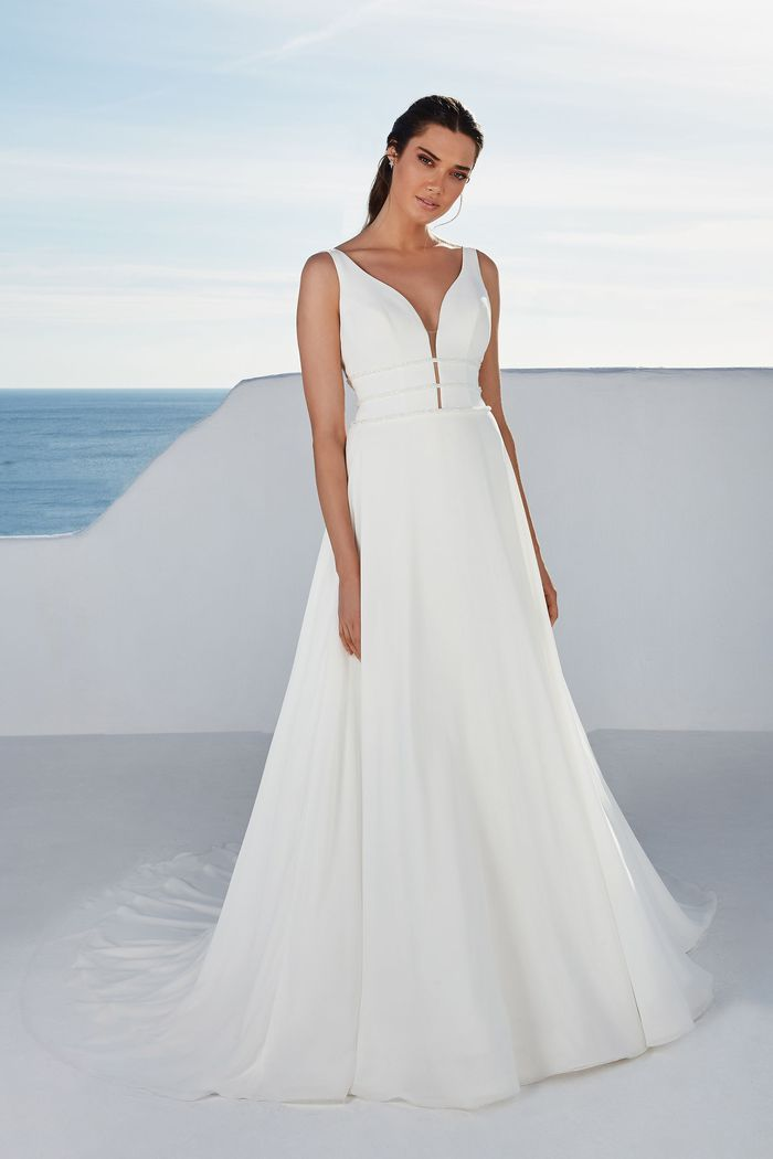 Justin Alexander Style 88166 Baylor Chiffon Skirt A-Line Accented with Triple Beaded Bands