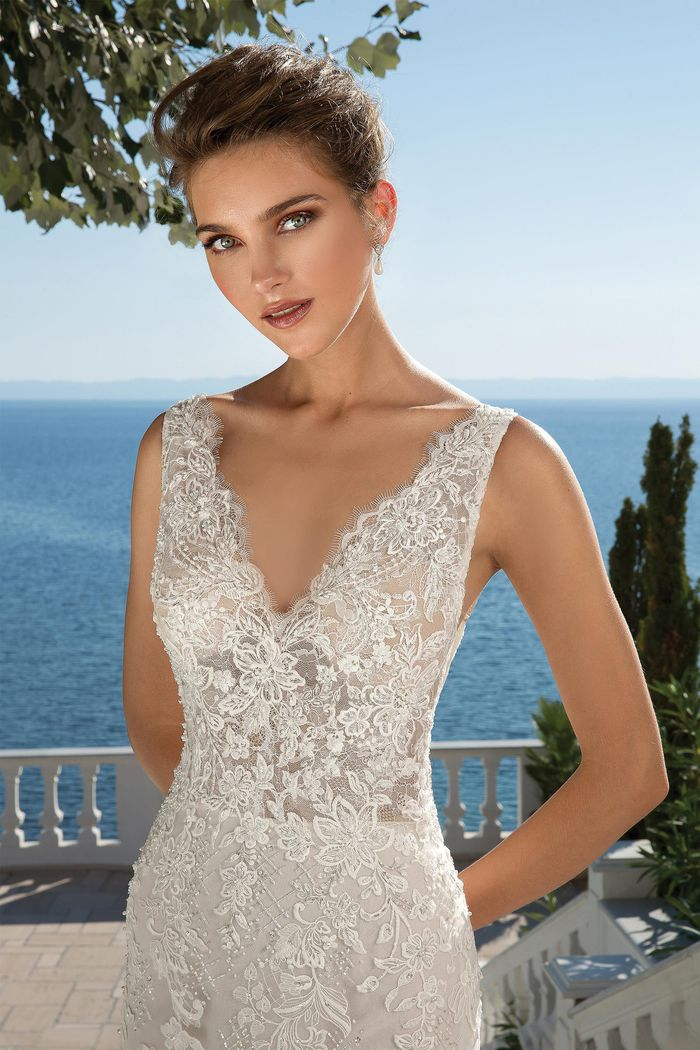 Justin Alexander style 88077 Fit and Flare Lace Dress with Illusion V-Neckline
