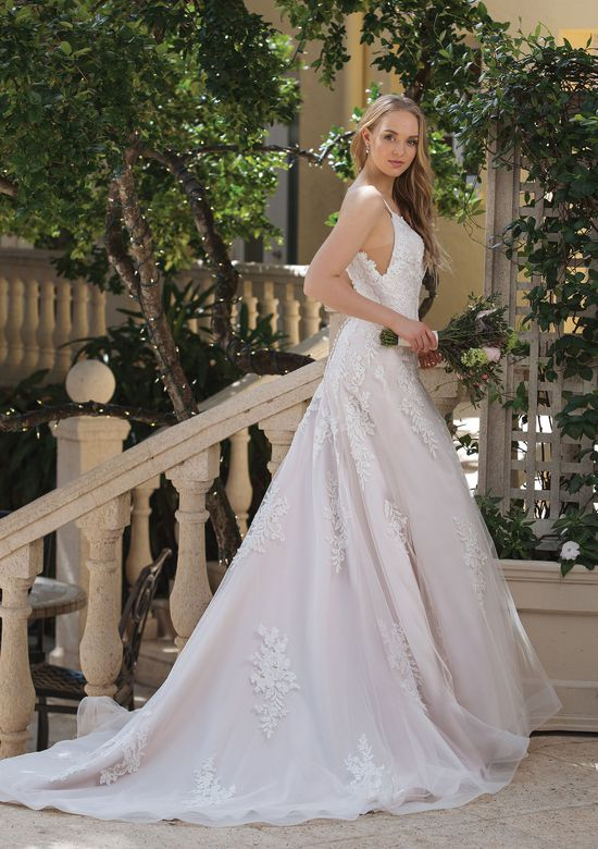Sincerity Bridal Style 44091 A-line Dress with Beaded Lace Appliques and Chapel Train