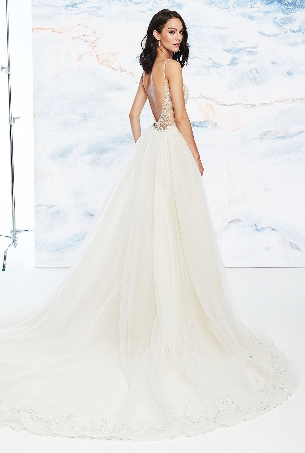 Justin Alexander Signature Style 99063 | Beaded Fit and Flare Dress with Detachable Train