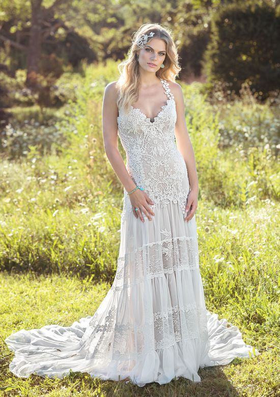 Lillian West Chantilly Lace and Chiffon Gown with Tiered Skirt and Criss Cross Straps