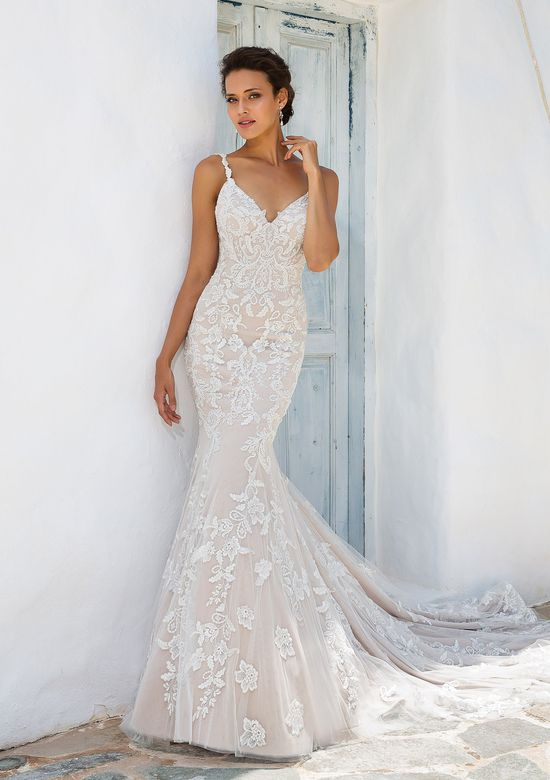 Justin Alexander Style 8960 Fit and Flare Gown with Beaded Lace Appliques and Keyhole Back