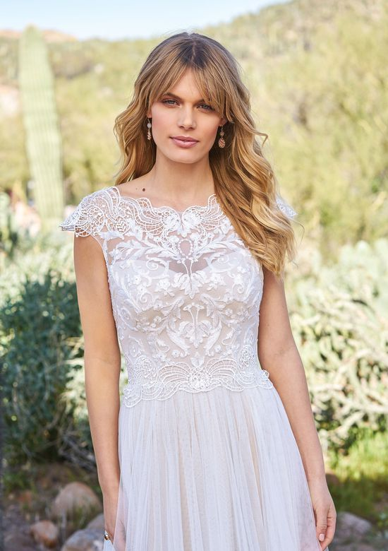 Lillian West Style 6514 Illusion Sabrina Neckline and Soft Tulle Skirt Gown
