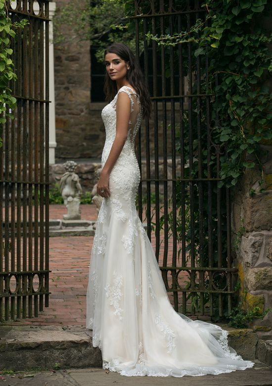 Sincerity style 44054 V-Neck Fit and Flare Gown with Illusion Lace Back