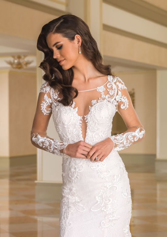 Justin Alexander  Lace Fit and Flare Bridal Gown with Sheer Lace Sleeves