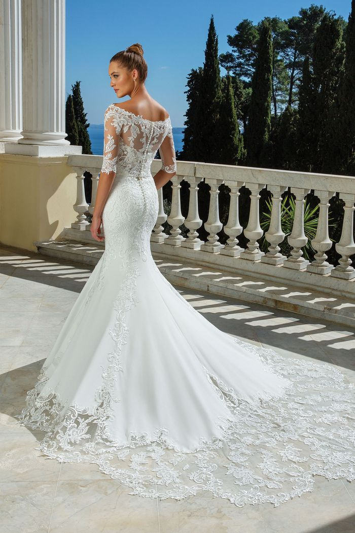 Justin Alexander Style 88114 Allover Lace Fit and Flare Gown with Illusion Back