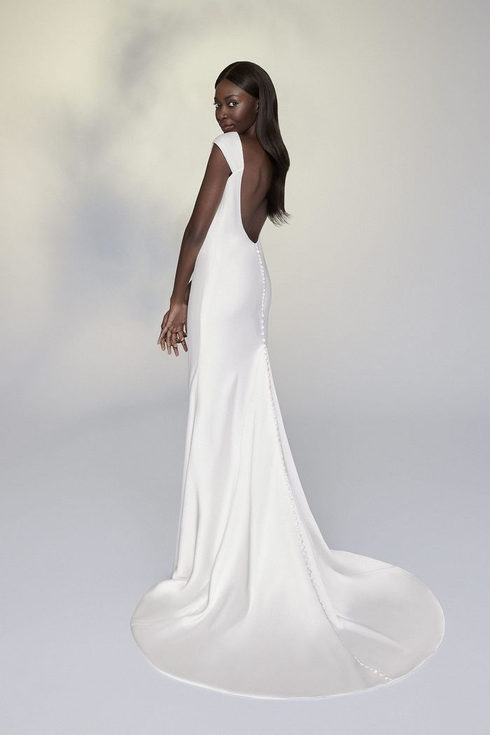 Justin Alexander Signature Style 99192 Adabel Charmeuse Sheath Dress with Pleated Cap Sleeves