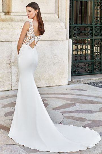 Adore by Justin Alexander Style 11144 Clean Fit and Flare Dress with Low Keyhole Back