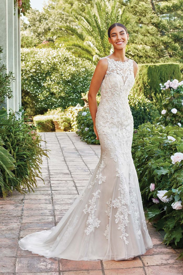 Sincerity Bridal Style 44221 Fit and Flare Gown with Illusion Sabrina Neckline and Open Back