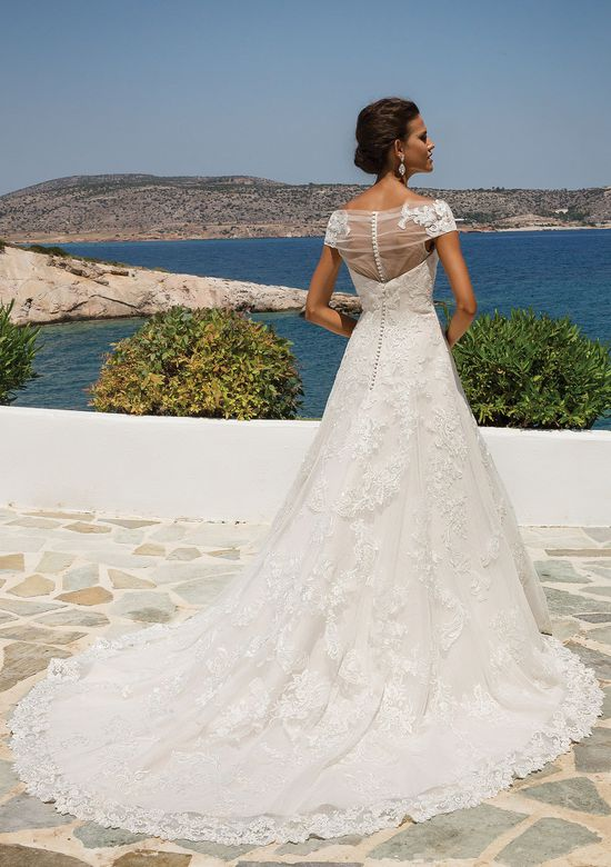Justin Alexander Lace Appliqué on Point d'Esprit A-line Gown with Short Sleeves