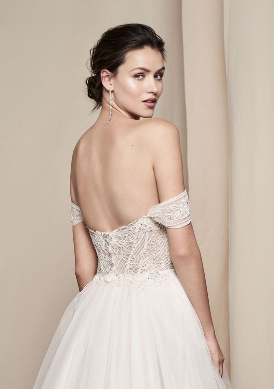 Justin Alexander Signature Style 99101 Aster Sparkling Off the Shoulder Organza Gown