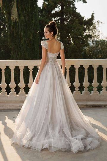 Justin Alexander Style 88102 English Net Ball Gown with Detachable Beaded Sleeves