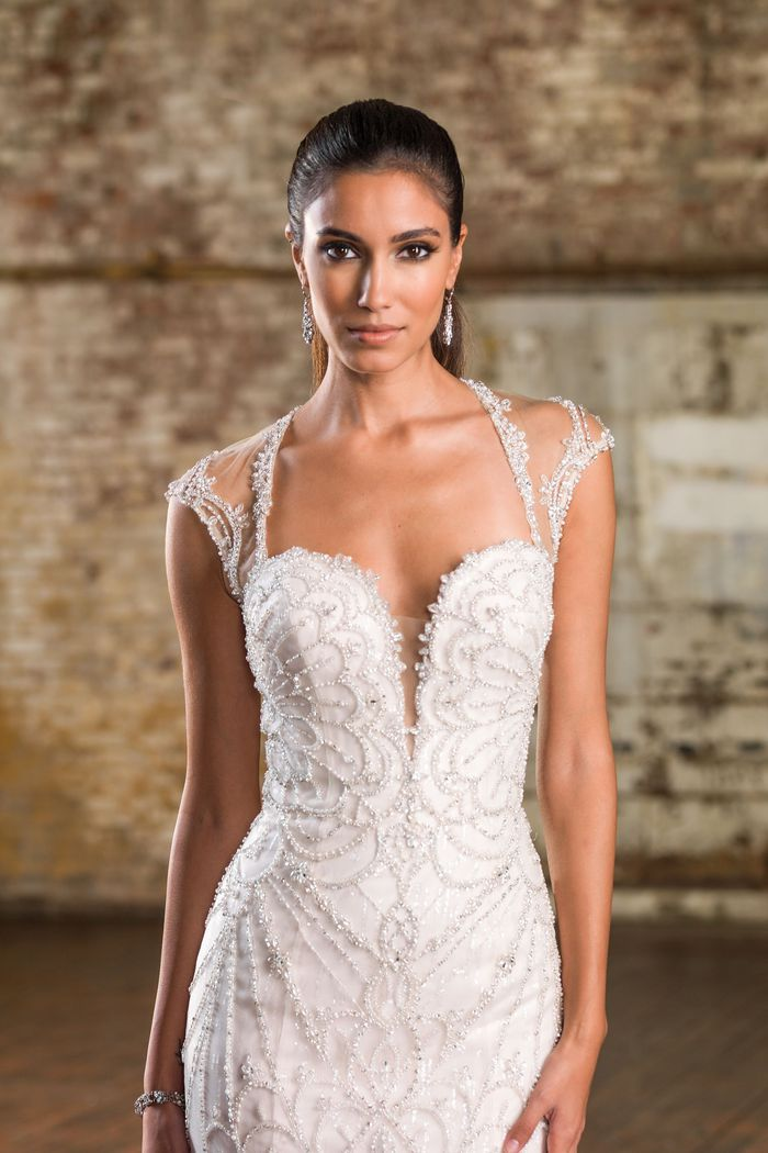 Justin Alexander Signature Style 9837 Mermaid Gown with Blooming Floral Beaded Back