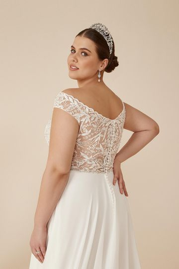 Justin Alexander Style 88210PS Colima Beaded Plus Size A-Line Gown with Chiffon Skirt and Off the Shoulder Neckline