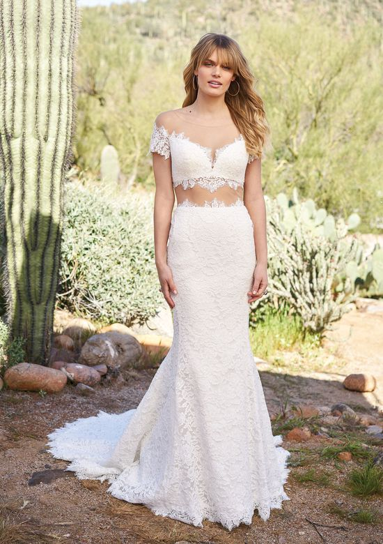 Lillian West Corded Lace Crop Top and Skirt with Illusion Midriff
