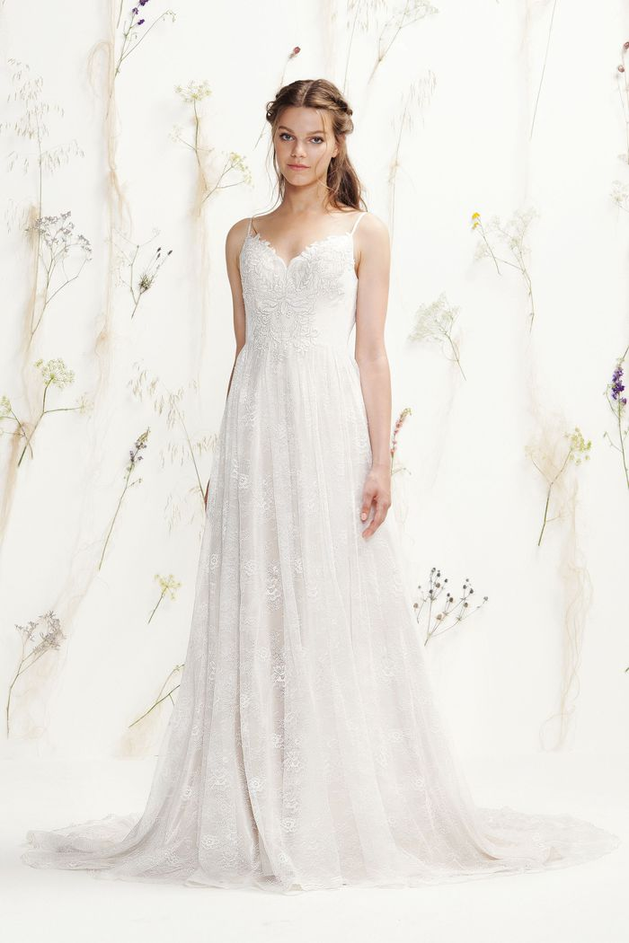 Lillian West Style 6395 All Over Lace V-Neck Bridal Gown
