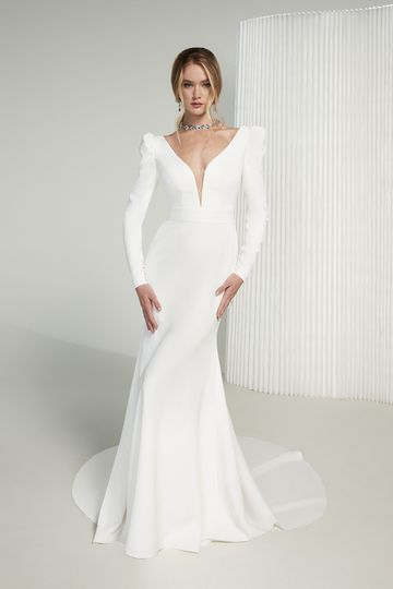 Justin Alexander Signature Style 99224 Celine Clean Fit and Flare Gown with Plunging V-Neck and Puff Sleeves