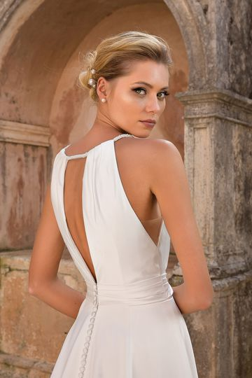 Justin Alexander Style 88064 Rope Tied Plunging Halter A-line Dress