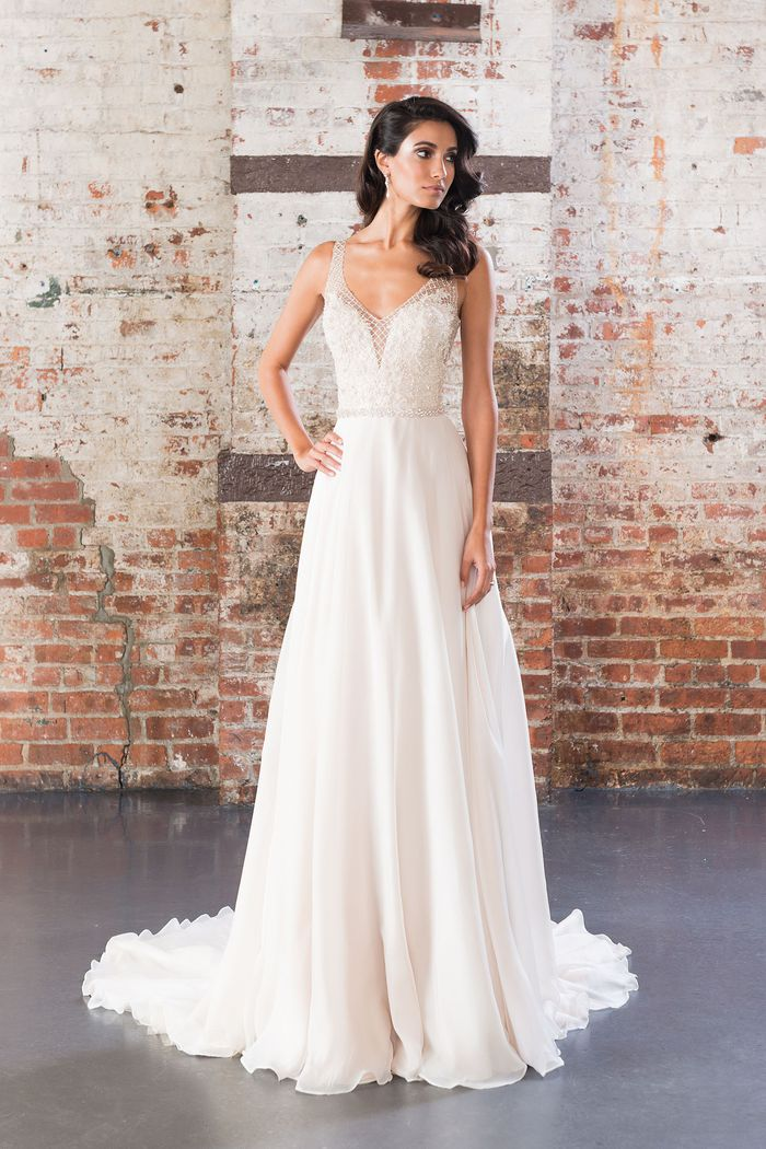Justin Alexander Signature  Beaded Net over Sweetheart Bodice with Silk Chiffon Skirt