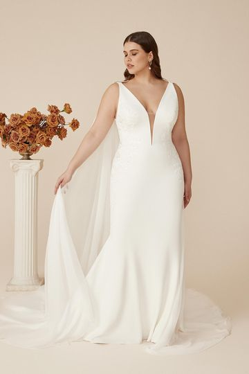 Justin Alexander Style 88202PS Cora Plunging V-Neck Plus Size Crepe Fit and Flare Gown