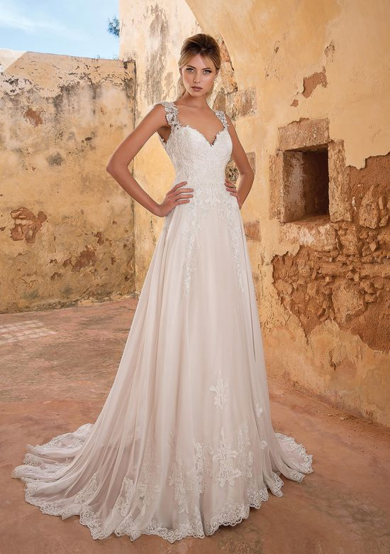 Justin Alexander Style 88058 Beaded Venice Lace A-line Gown with Buttons
