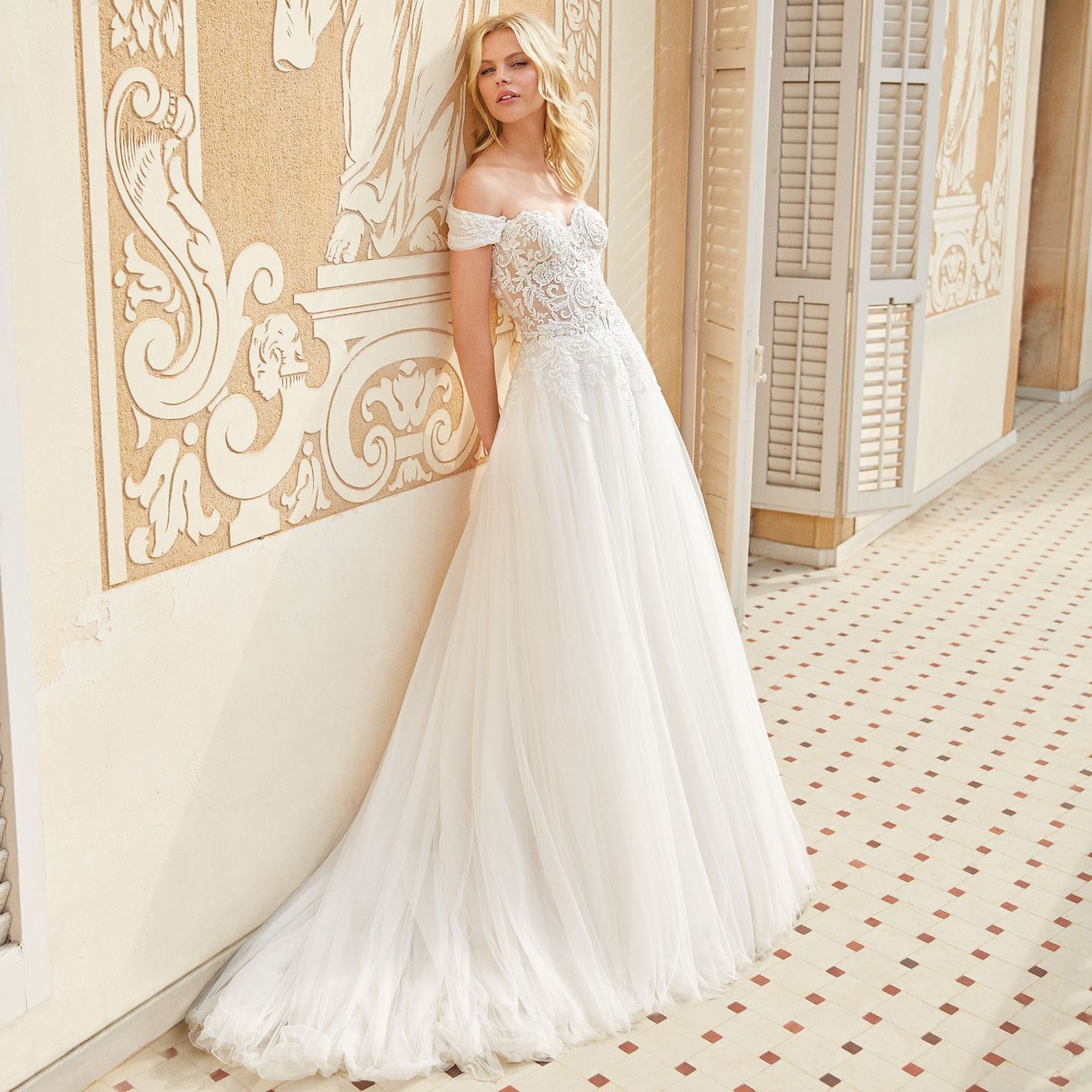 Sincerity Bridal - Style 44076: Lace Ball Gown with Ruched Detachable Shawl
