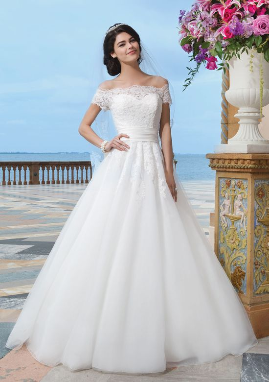 Sincerity Bridal Style 3836 Chiffon; alencon lace ball gown embellished by a off the shoulder neckline