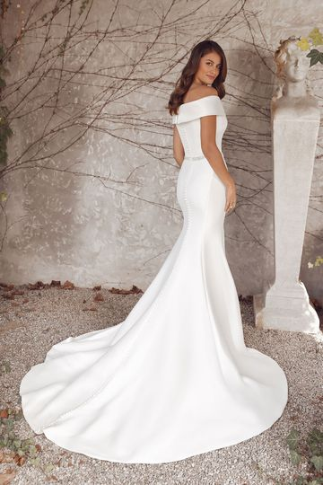 Justin Alexander Style 88145 Agatha Fit and Flare Stretch Mikado Gown with Cuff and Beaded Belt