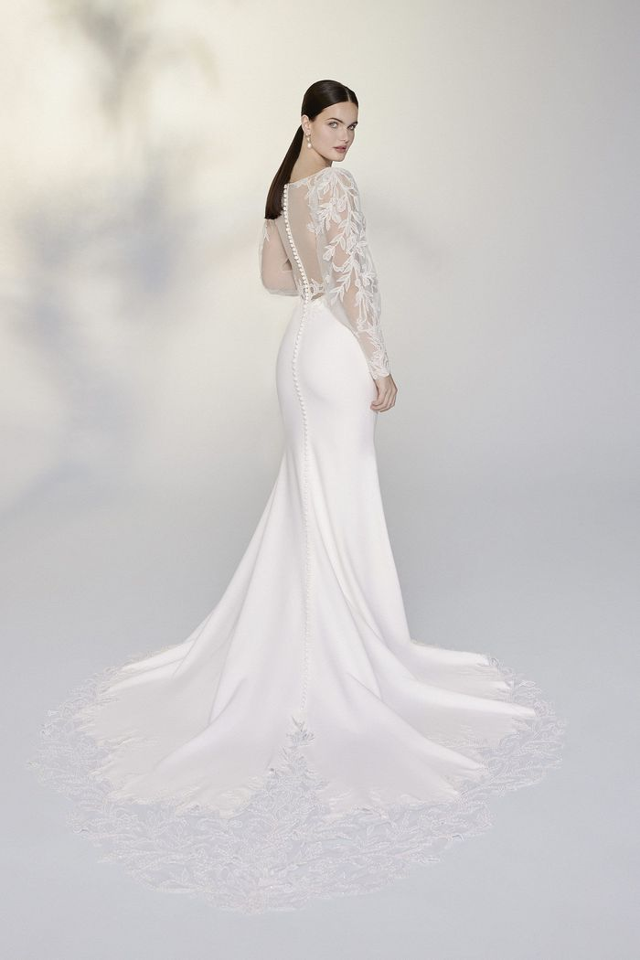 Justin Alexander Signature Style 99198 Galina Hand Beaded Fit and Flare Gown with Bishop Sleeves