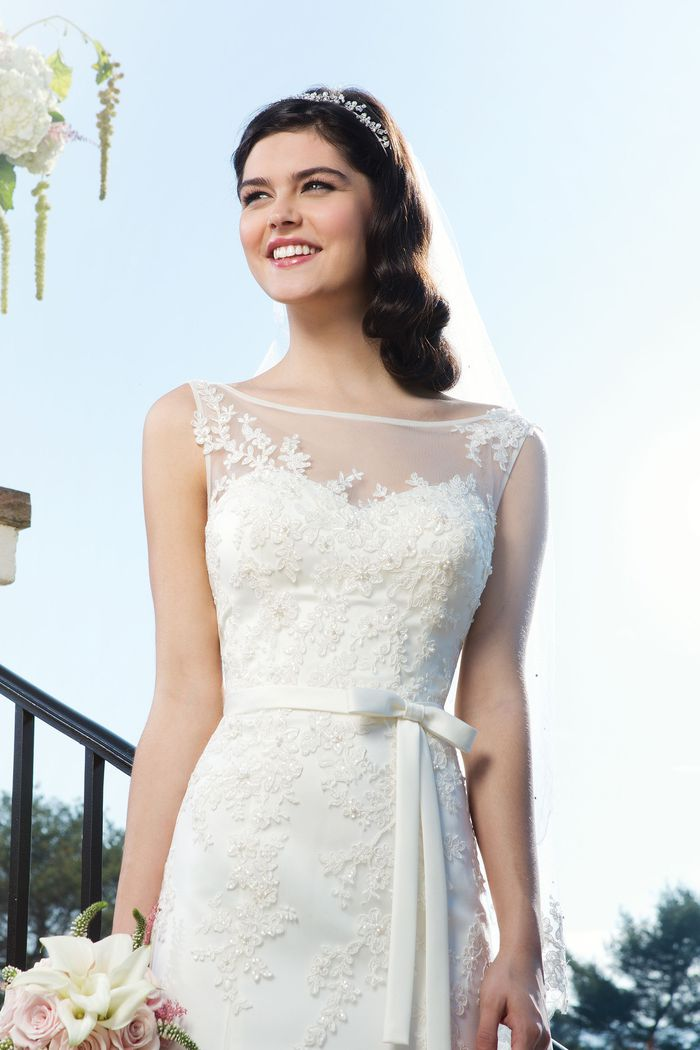 Sincerity Bridal Style 3750 Tulle fit and flare dress featuring a Sabrina neckline
