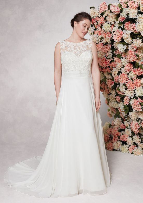 Sincerity Bridal Style 44085 A-line with Beaded Lace Bodice and Cummerbund