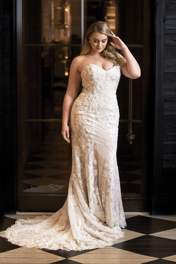 Justin Alexander Style 8920 Allover Chantilly Lace Fit and Flare with Beaded Embroidered Lace Appliqués Iskra Lawrence