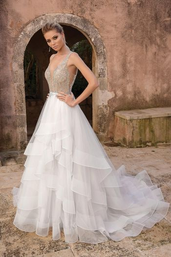 Justin Alexander Style 88059 Romantic Ruffle Skirt Ball Gown