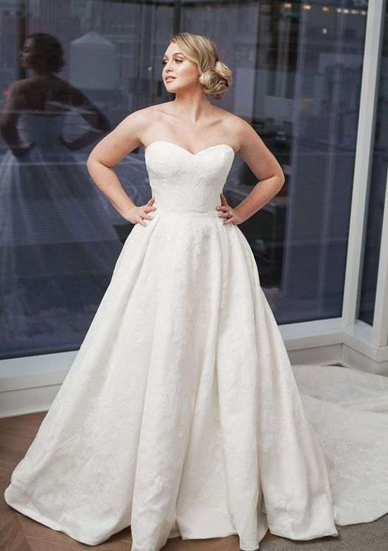 Justin Alexander Signature Style 9858 Organza Ball Gown with Allover Lace Appliqués and Monarch Train Iskra Lawrence