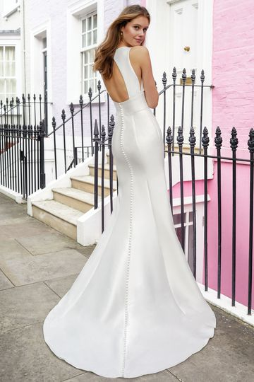 Adore by Justin Alexander Style 11116 Clean Fit and Flare Dress with Sabrina Neckline and Keyhole Back