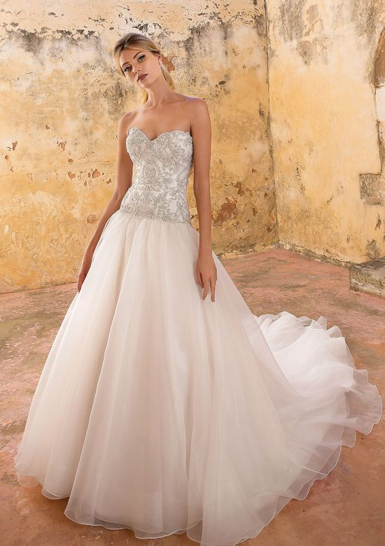 Justin Alexander Style 88061 Dropped Waist Ball Gown with Beaded Bodice