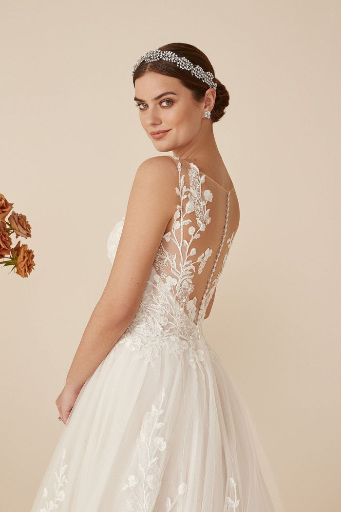 Justin Alexander Style 88158 Aurora Sparkle Tulle Ball Gown with Illusion Bodice and Lace appliqués
