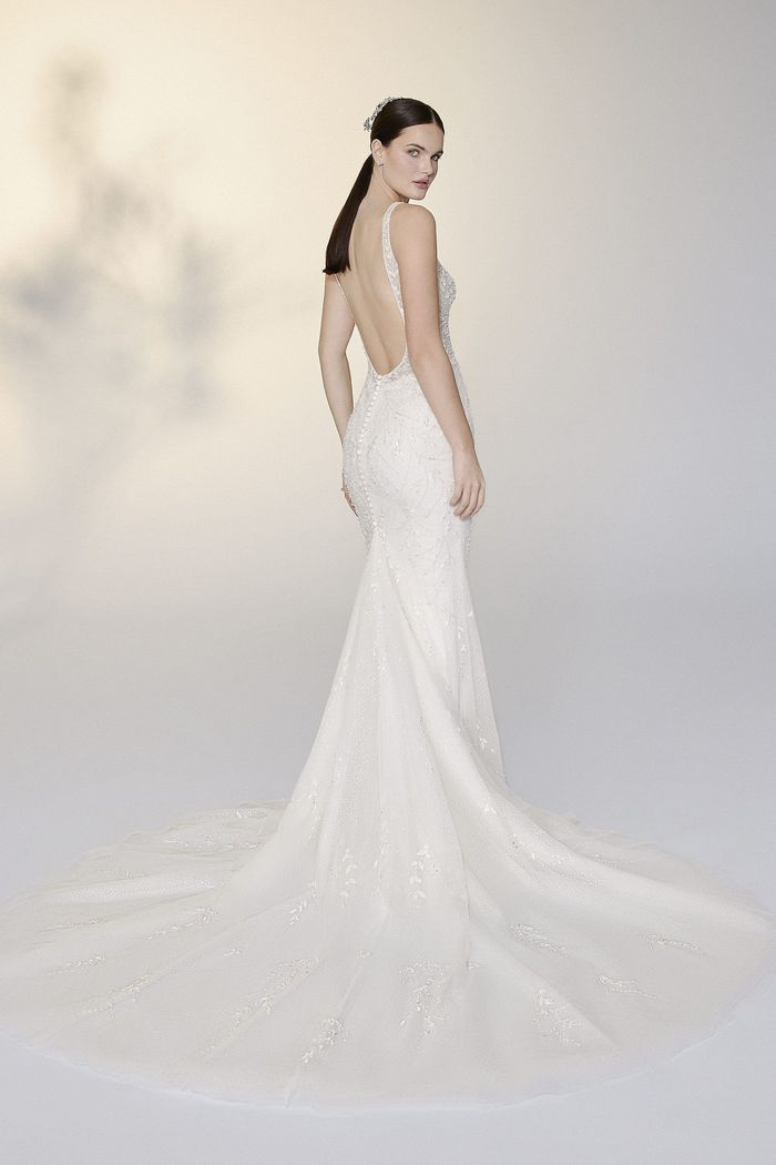 Justin Alexander Signature Style 99200 Evelyn Plunging Square Neckline Fit and Flare Dress with Allover Beading