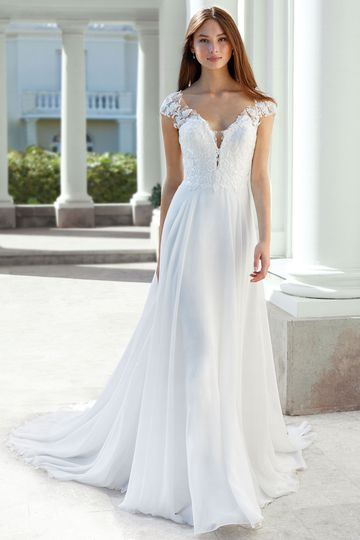 Adore by Justin Alexander Style 11123 A-Line Chiffon Gown with Lace Cap Sleeves and Illusion Back