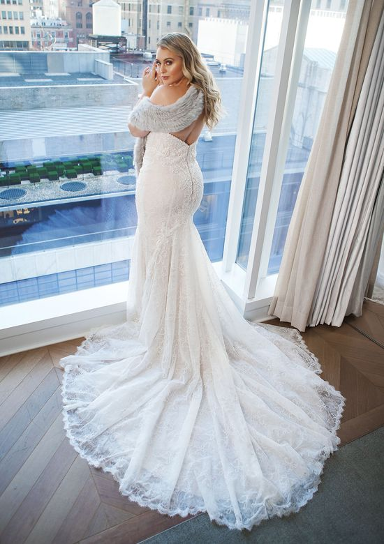 Justin Alexander Style 8967 Beaded Geometric Lace Fit and Flare Gown with Sweetheart Neckline Iskra Lawrence
