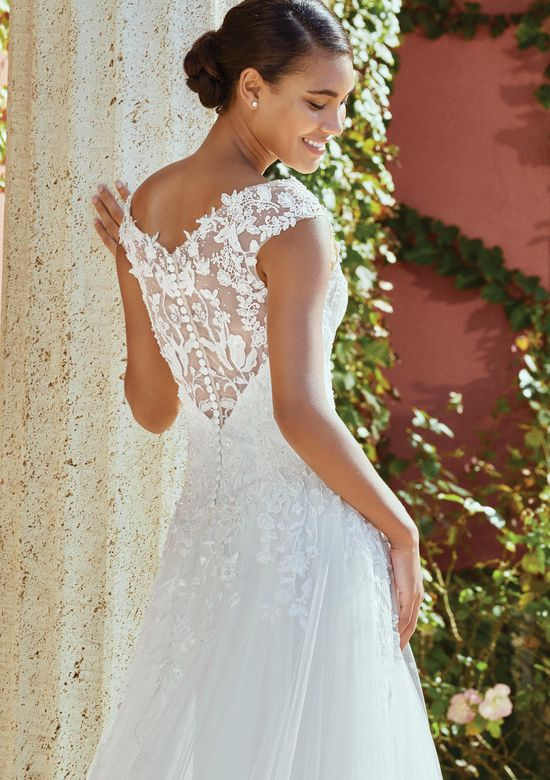 Sincerity Bridal Style 44203 Dropped Waist A-Line Gown with Beaded Illusion Neckline and Back