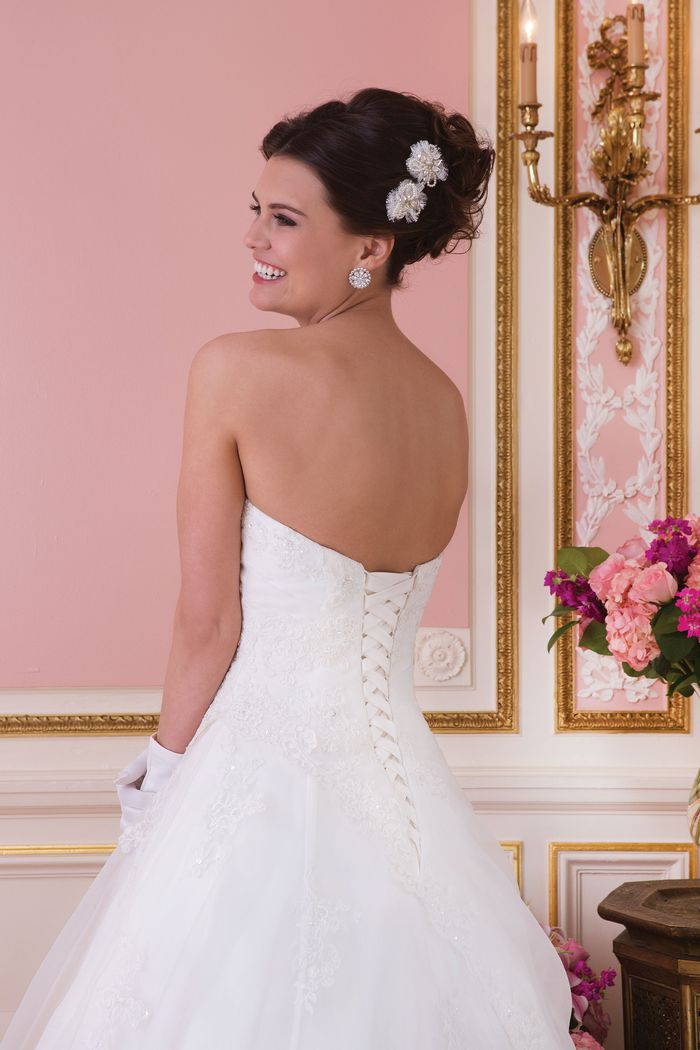 Sweetheart Gowns Asymmetrical Draped A-line Gown with Lace Up Back