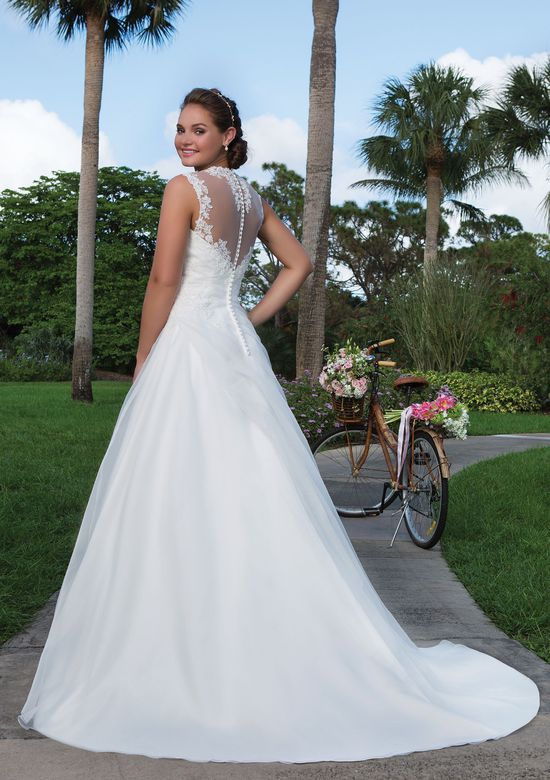 Sweetheart Gowns Style 6125 Organza A-Line Dress with Queen Anne Neckline