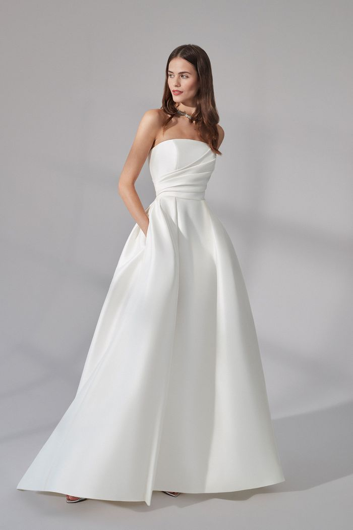 Justin Alexander Signature Style 99173 Beacon Strapless Stretch Mikado Gown with Asymmetric Pleating