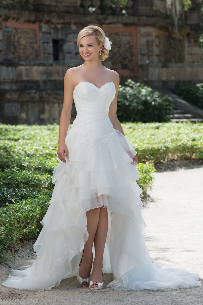 Style 3900 Lace Organza High Low Ball Gown Highlighted With A Sweetheart Neckline Sincerity Bridal