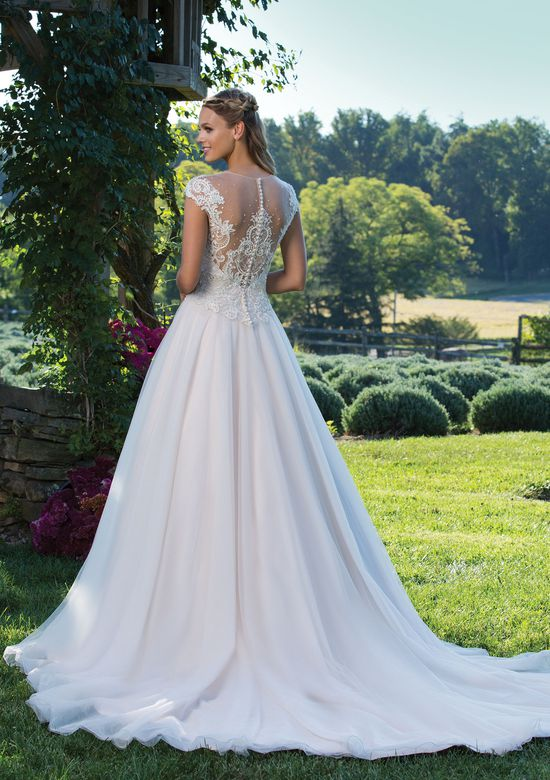 Sincerity Bridal Style 3975 Illusion V-Neck Gown with Corded Lace Cap Sleeves