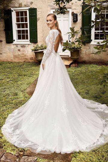 Sincerity Bridal Style 44274 A-Line Gown with Chantilly Long Sleeves and Low Cut Keyhole Back