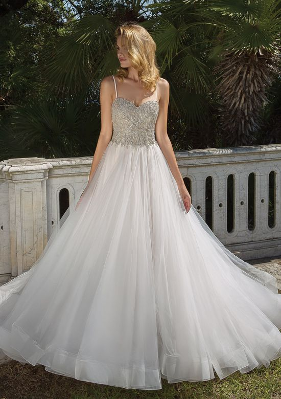 Justin Alexander Style 88062 Allover Silver Beaded Bodice Ball Gown